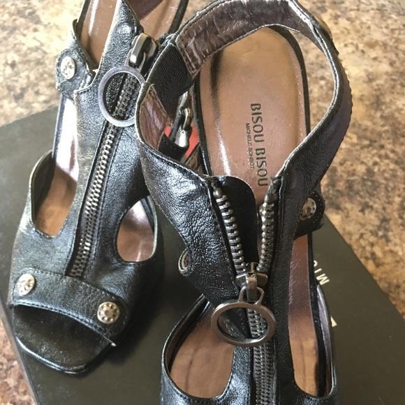 Michele bohbot metal high heels metal zip front
